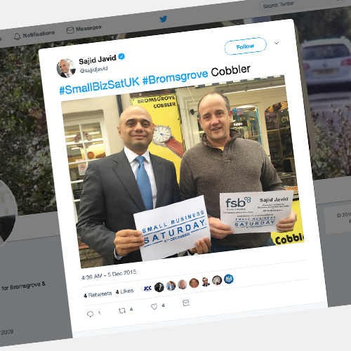 Bromsgrove Cobbler celebrates 28 years with a visit from MP Sajid Javid